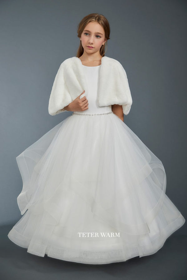 carmens designs white first communion dress with Satin Bodice With Layered Horsehair Tulle Bottom from teter warm