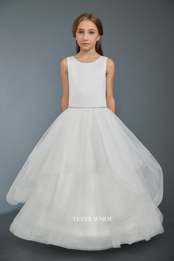 white first communion dress with Satin Bodice With Layered Horsehair Tulle Bottom available at carmens designs toronto