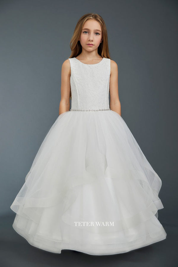 carmens designs white first communion dress with Lace Bodice and Layered Horsehair Tulle bottom from teter warm