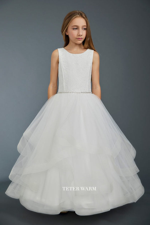 white first communion dress with Lace Bodice and Layered Horsehair Tulle bottom from carmens designs toronto
