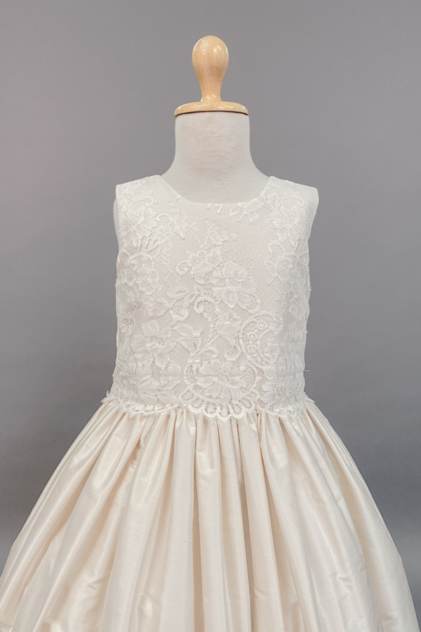 carmens designs Lace bodice with silk ivory skirt communion dress