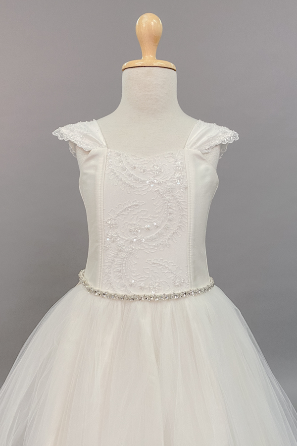 carmens designs embroidered tulle applique on bodice and cap sleeves custom made dress