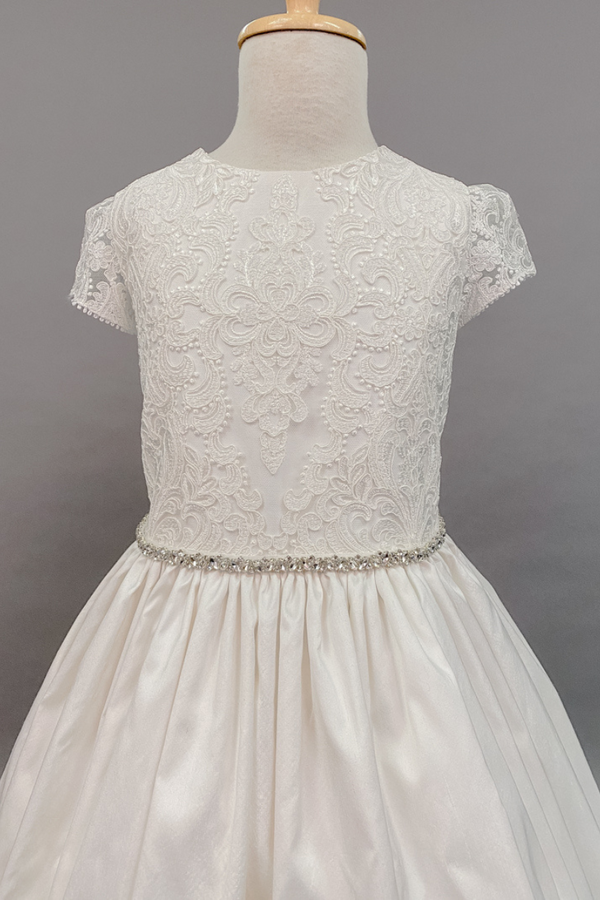 Lace cap sleeves and bodice with silk bottom custom-made dress - 1881