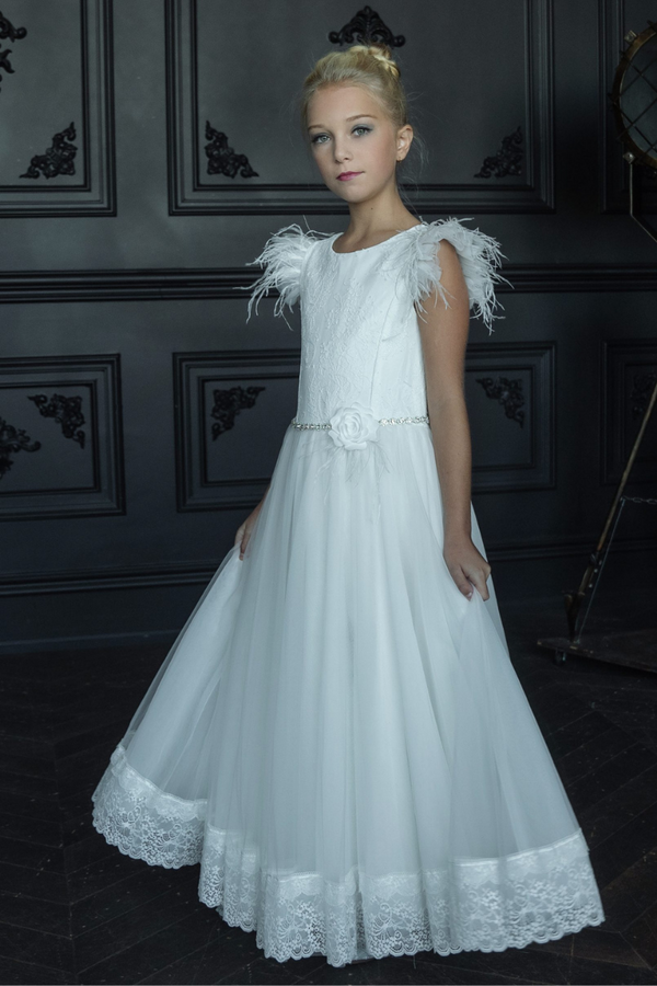 carmens designs communion Feather sleeve and lace bodice with tulle skirt with lace hem dress