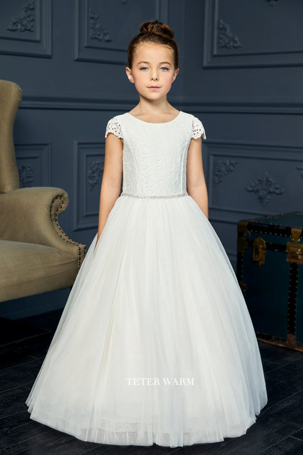 teter warm first communion dress with Lace Bodice With Cap Sleeves and Tulle Bottom from carmens designs toronto