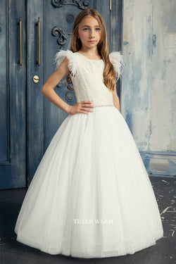light blush first communion dress with Lace Bodice With Feather Sleeves And Tulle Bottom from carmens designs toronto