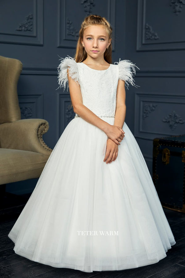teter warm off white first communion dress with Lace Bodice With Feather Sleeves And Tulle Bottom from carmens designs toronto