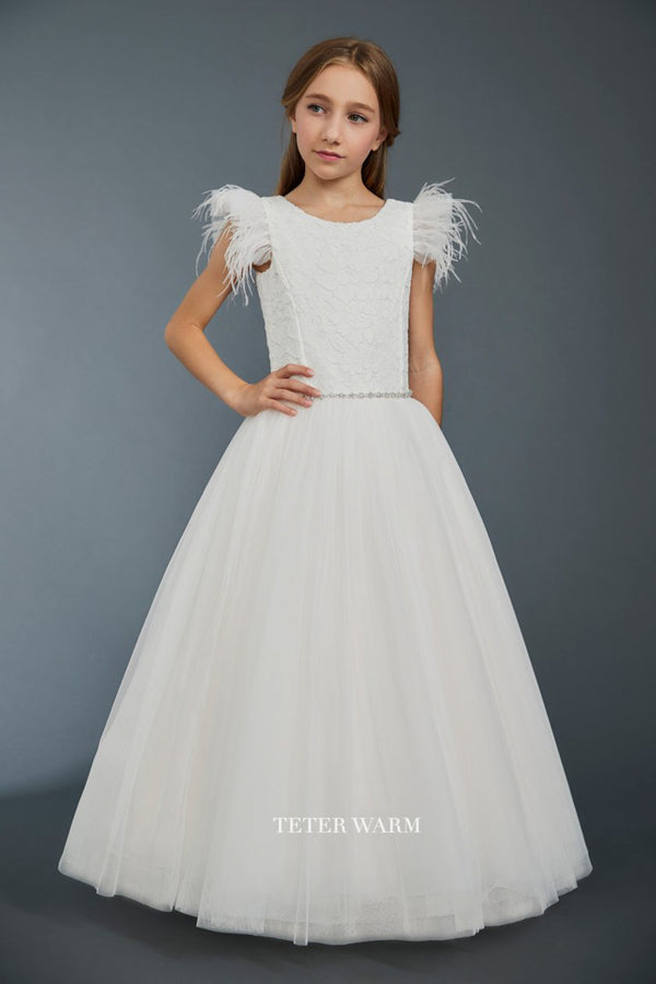 teter warm light blush first communion dress with Lace Bodice With Feather Sleeves And Tulle Bottom from carmens designs toronto