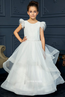 off white first communion dress with Lace Feather Sleeve Horsehair Tulle Bottom Dress from carmens designs toronto