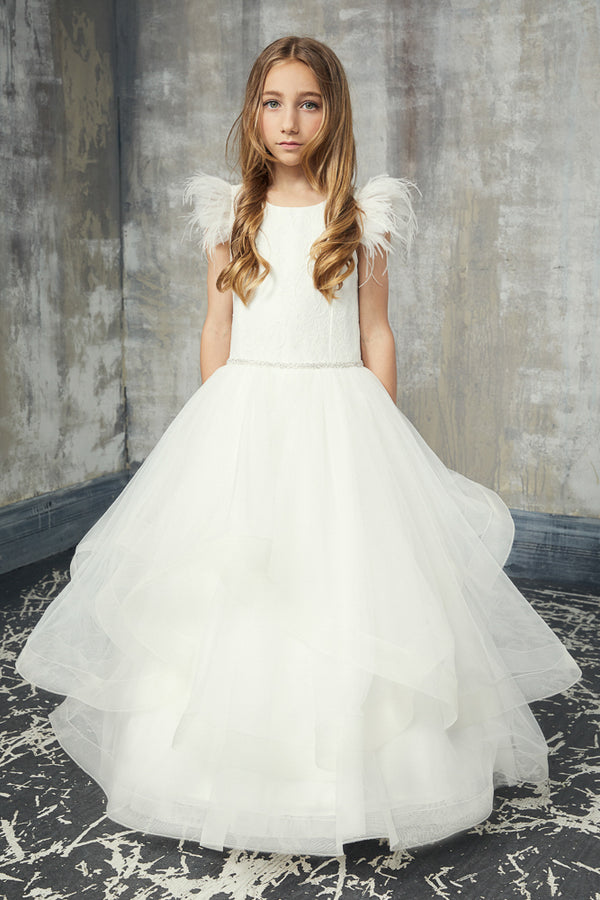 teter warm off white first communion dress with Lace Feather Sleeve Horsehair Tulle Bottom Dress from carmens designs toronto