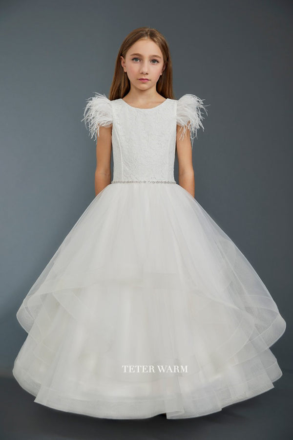 light blush first communion dress with Lace Feather Sleeve Horsehair Tulle Bottom Dress from carmens designs toronto
