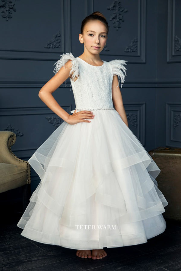 teter warm light blush first communion dress with Lace Feather Sleeve Horsehair Tulle Bottom Dress from carmens designs toronto