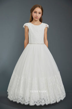 Lace Cap Sleeve Tulle Bottom With Lace Hem Dress in WHITE from teter warm