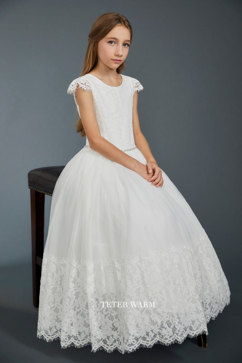 carmens designs communion dress with lace