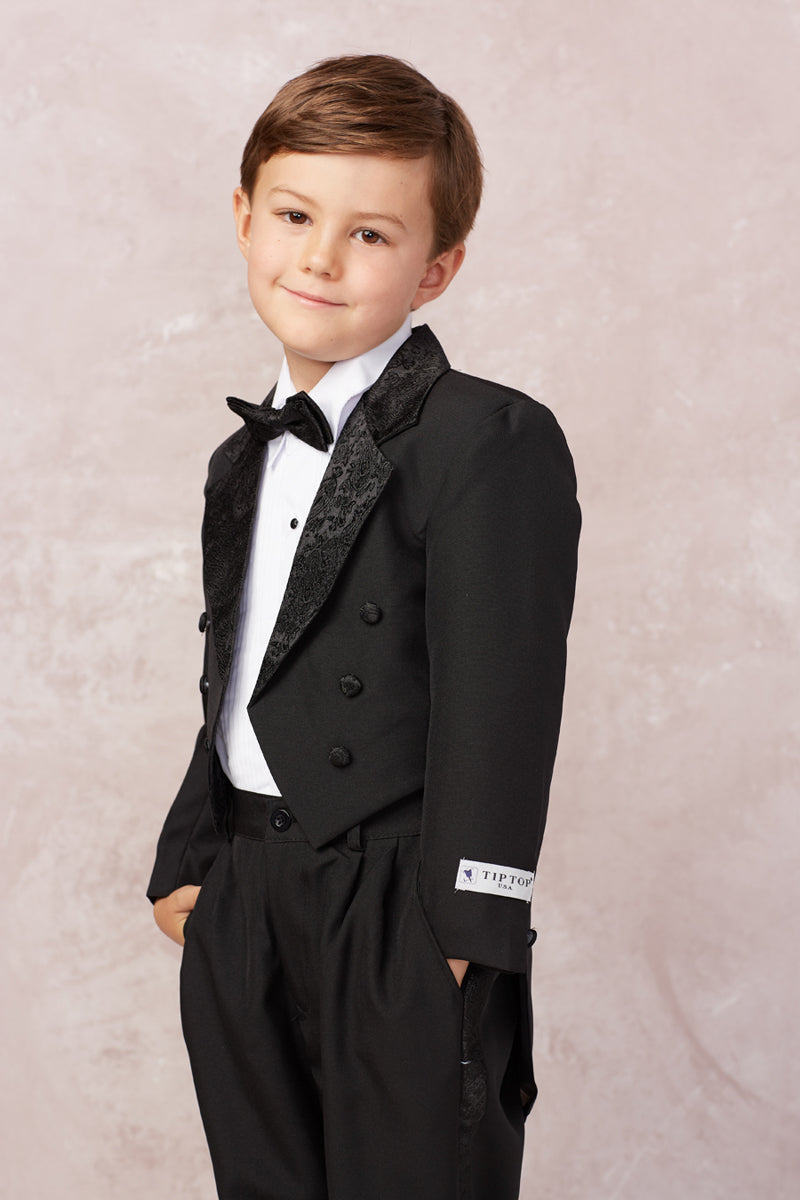 carmens designs Boys Satin Tailed Tuxedo Set for baptism and weddings