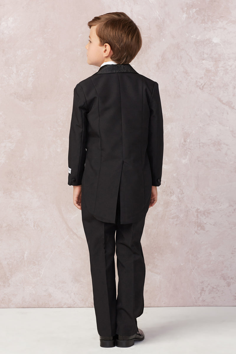 carmens designs Boys Satin Tailed Tuxedo Set in black or white