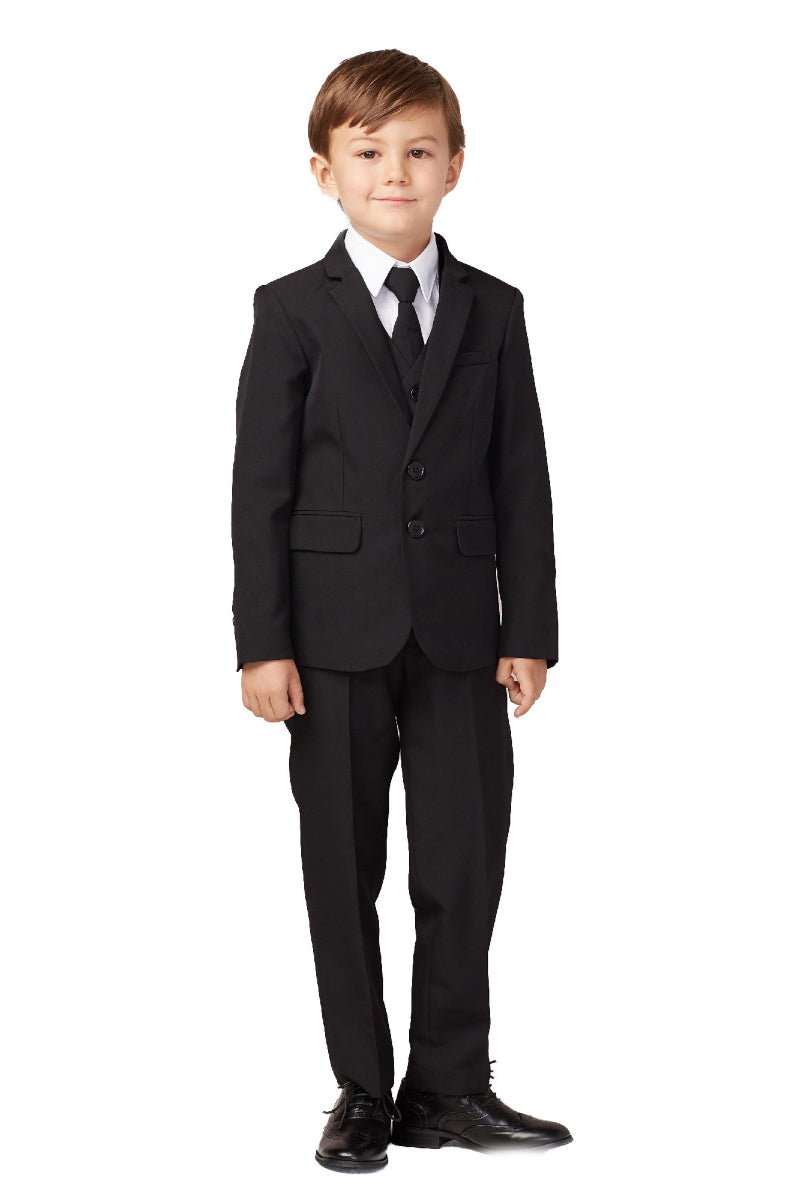 carmens designs Baby Boy Slim Fit Single Breasted 5-Piece Suit in black