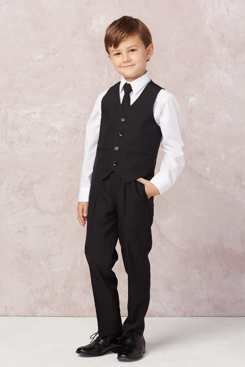 carmens designs Baby Boy Slim Fit Single Breasted 5-Piece Suit in black for weddings and special occasions