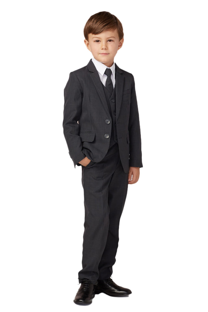 carmens designs Baby Boy Slim Fit Single Breasted 5-Piece Suit in dark gray