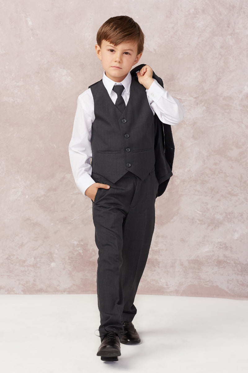 carmens designs Baby Boy Slim Fit Single Breasted 5-Piece Suit in dark gray from tip top kids