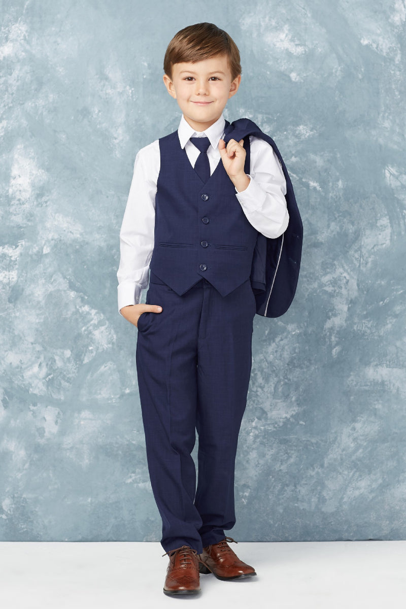 tip top kids Baby Boy Slim Fit Single Breasted 5-Piece Suit in navy blue from carmens designs toronto