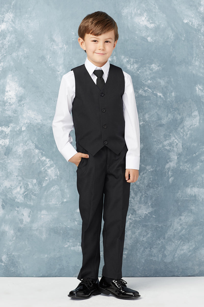 Boys Slim Fit 2 Button 5-Piece Suit in black available at carmens designs toronto