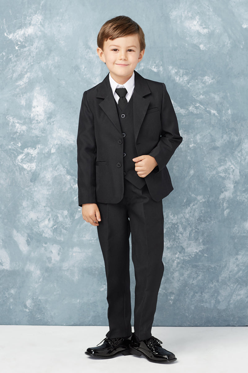 carmens designs black 2 Button 5-Piece Suit for boys