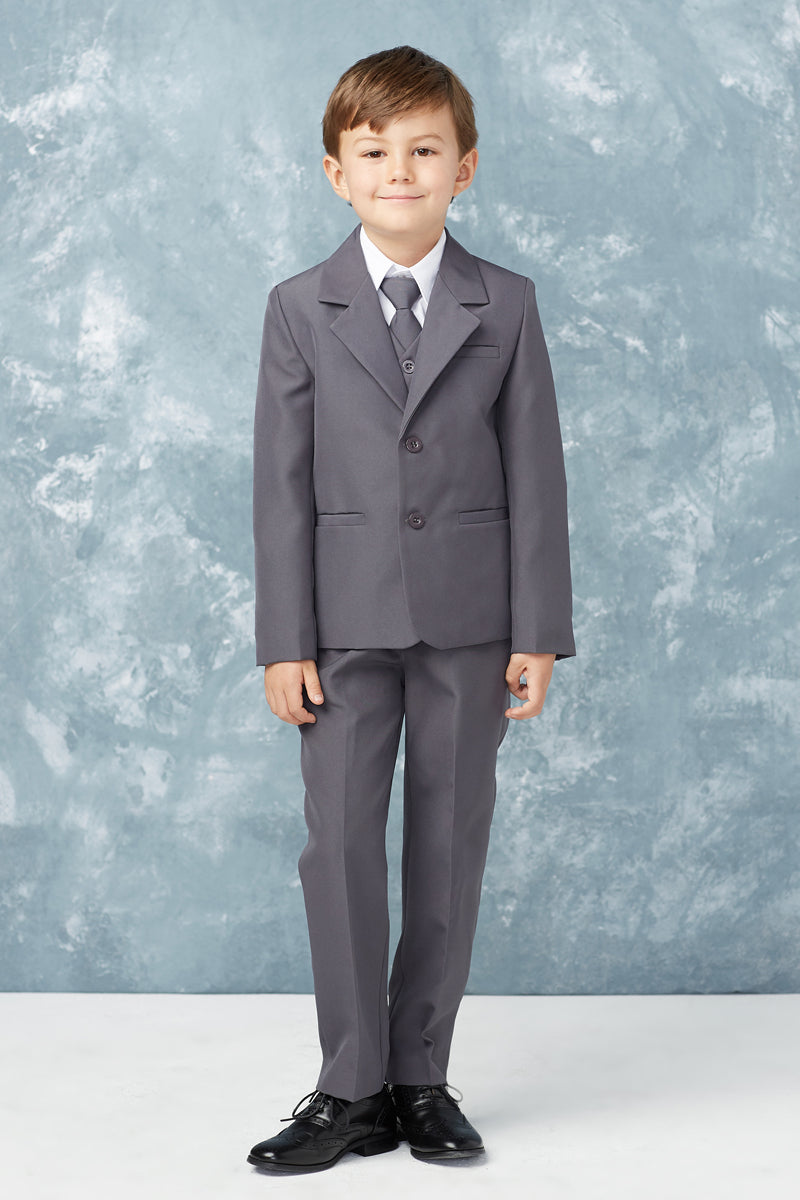 carmens designs Baby Boy Slim Fit 2 Button 5-Piece Suit in charcoal for weddings and special occasions