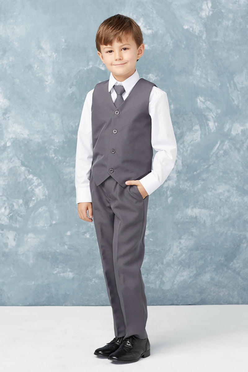 gray Boys Slim Fit 2 Button 5-Piece Suit from tip top kids