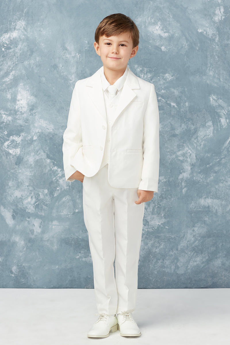 carmens designs Baby Boy Slim Fit 2 Button 5-Piece Suit in white for baptism and weddings