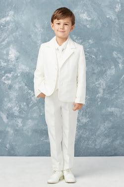 tip top kids Boys Slim Fit 2 Button 5-Piece Suit in white available at carmens designs toronto