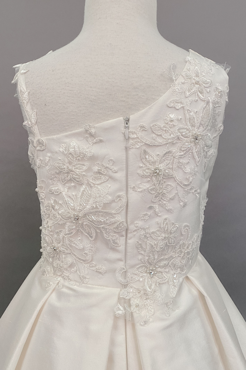 carmens designs custom made asymmetrical sleeves bodice with lace applique communion dress
