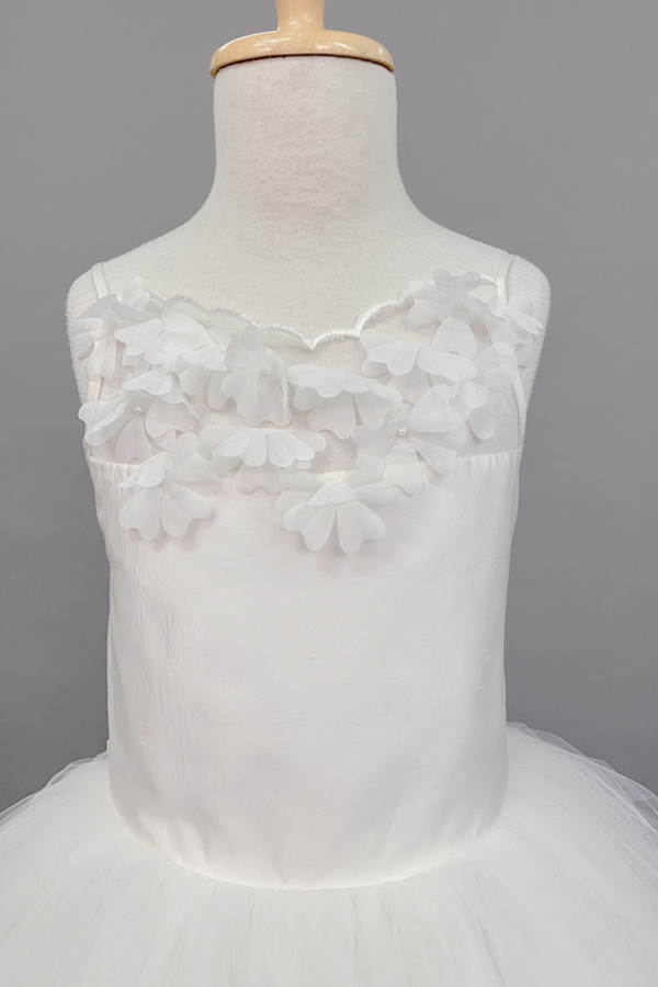 custom made flower applique with pearls over illusion neckline dress for communion