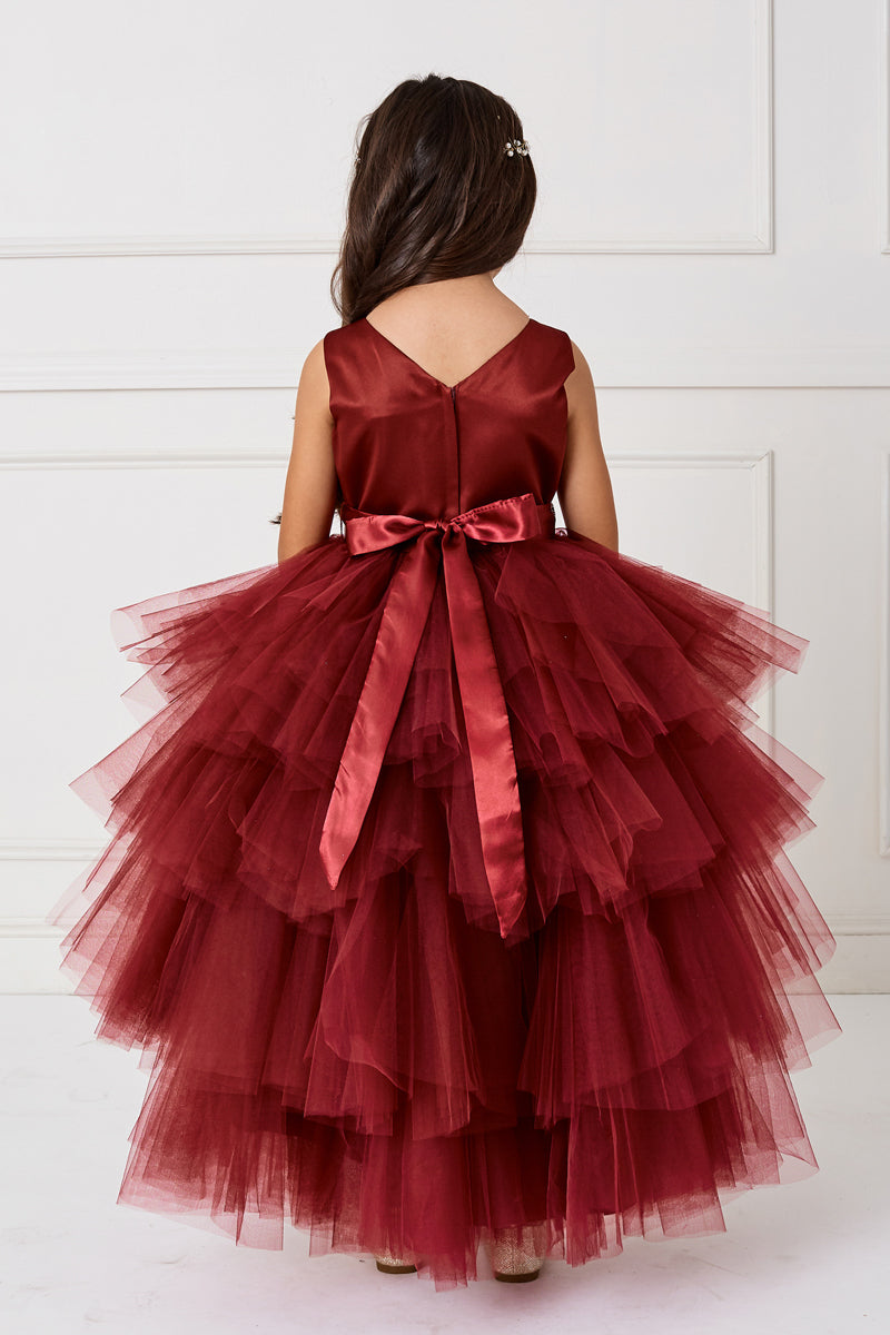 flower girl Ruffled Tulle High-Low Dress from tip top kids in burgundy