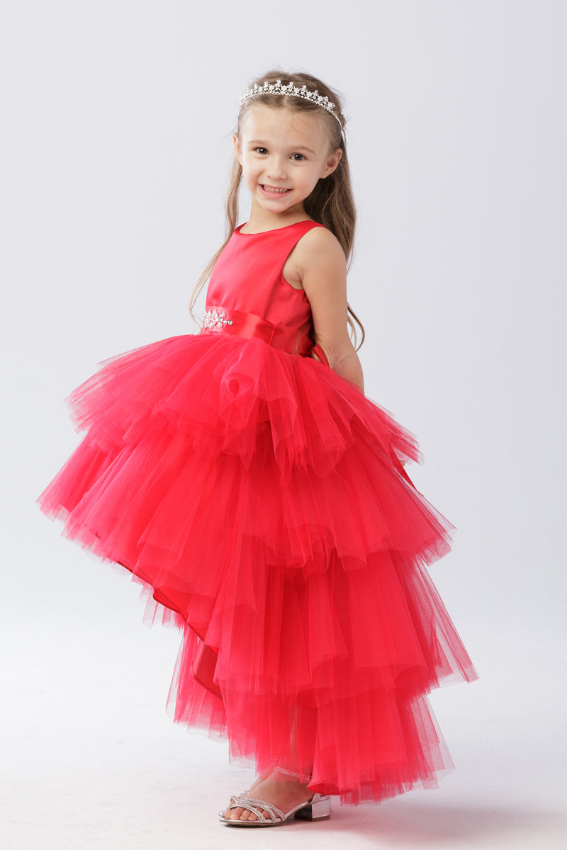 Ruffled Tulle High-Low Dress in red for formal parties