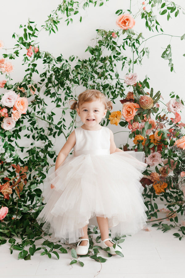 Ruffled Tulle High-Low Dress for Baby Girl