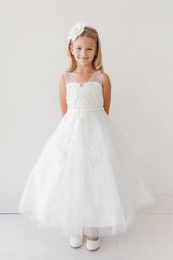 Soft Mesh Illusion Neckline with Lace Applique from tip top kids