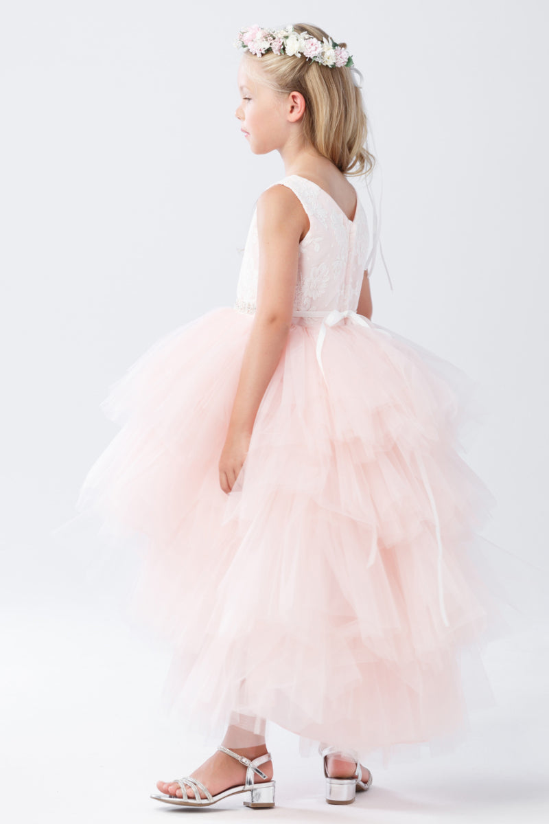 tip top kids Tulle High-Low Skirt with Lace Bodice and Rhinestone Sash available at carmens designs toronto