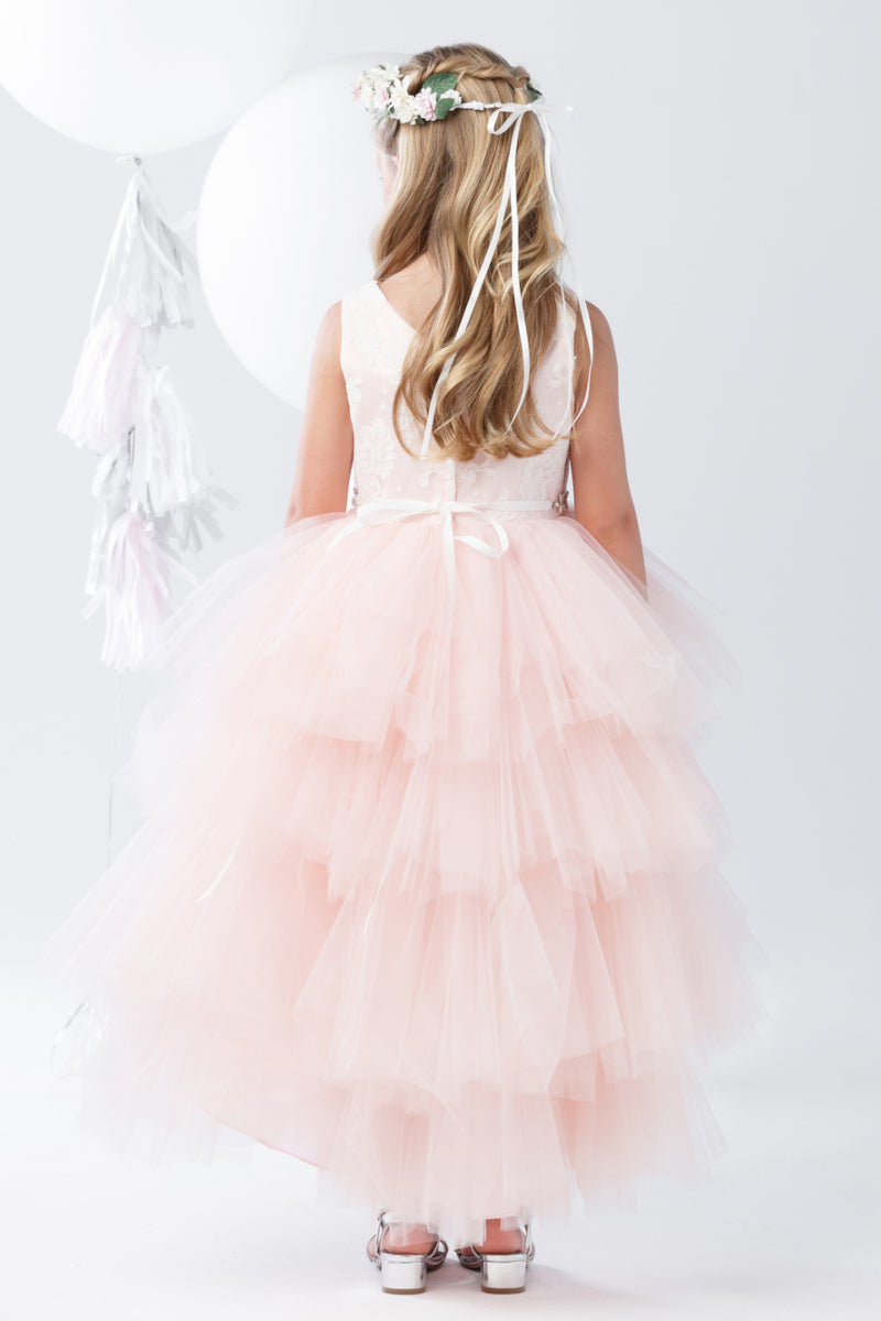 blush tulle high low dress for flower girls and weddings