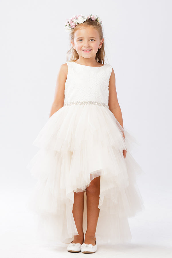 Tulle High-Low Skirt with Lace Bodice and Rhinestone Sash for flower girl