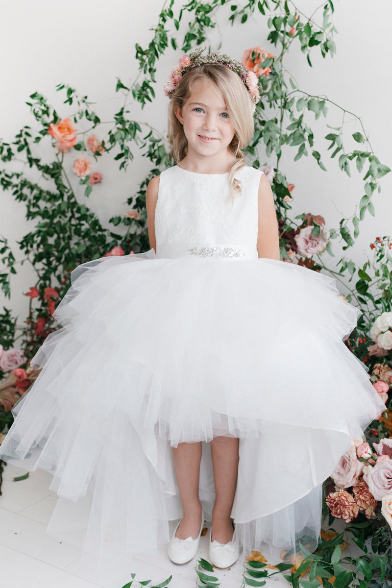 carmens designs Tulle High-Low Skirt with Lace Bodice and Rhinestone Sash