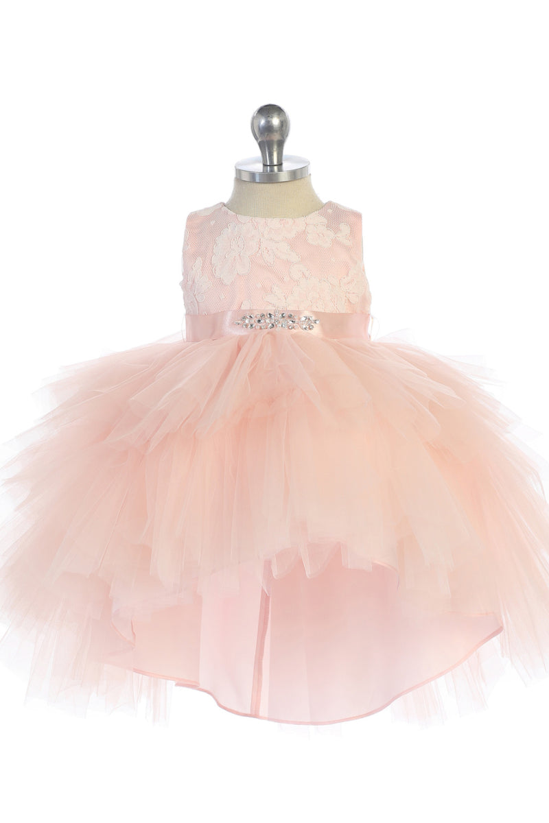 carmens designs Baby Girl Tulle High-Low dress with Lace Bodice and Rhinestone Sash for wedding and flower girl