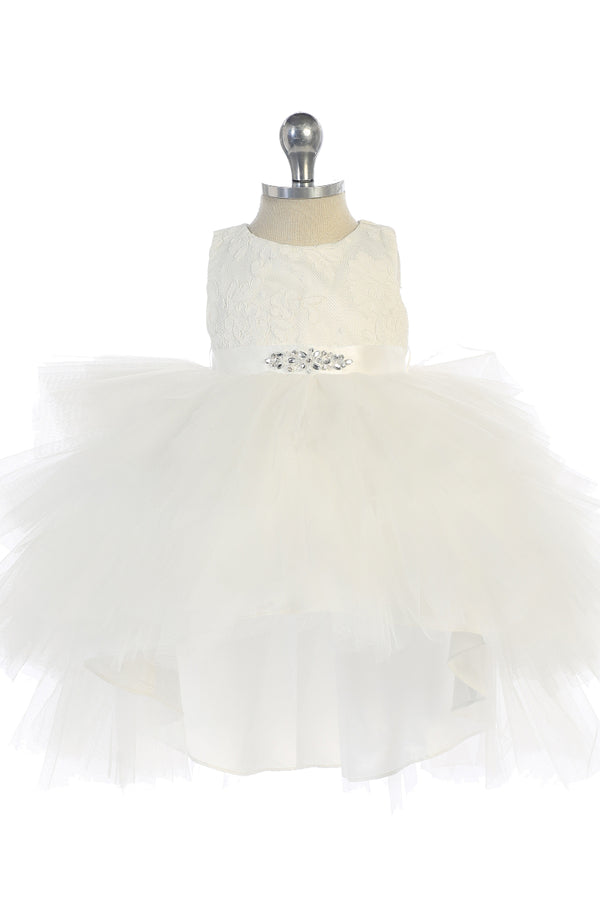 carmens designs Tulle High-Low Skirt with Lace Bodice and Rhinestone Sash for baby girls