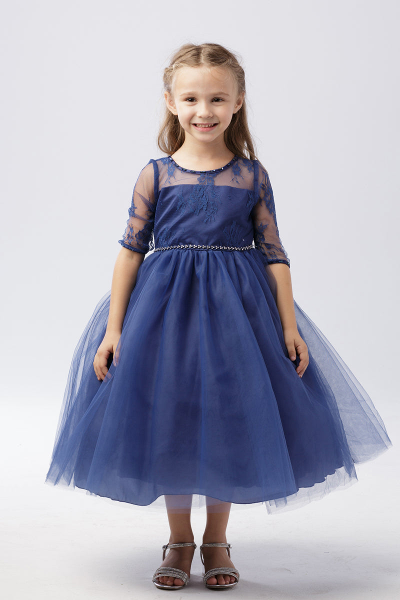 quarter Lace Sleeve Dress with Tulle Skirt in navy blue for wedding and special occasions