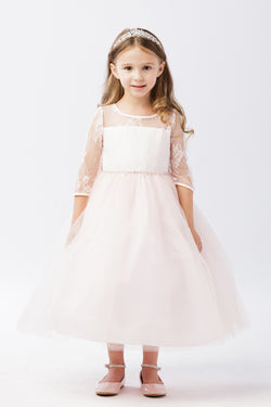 3/4 Soft Lace Sleeve Dress with Tulle Skirt from tip top kids
