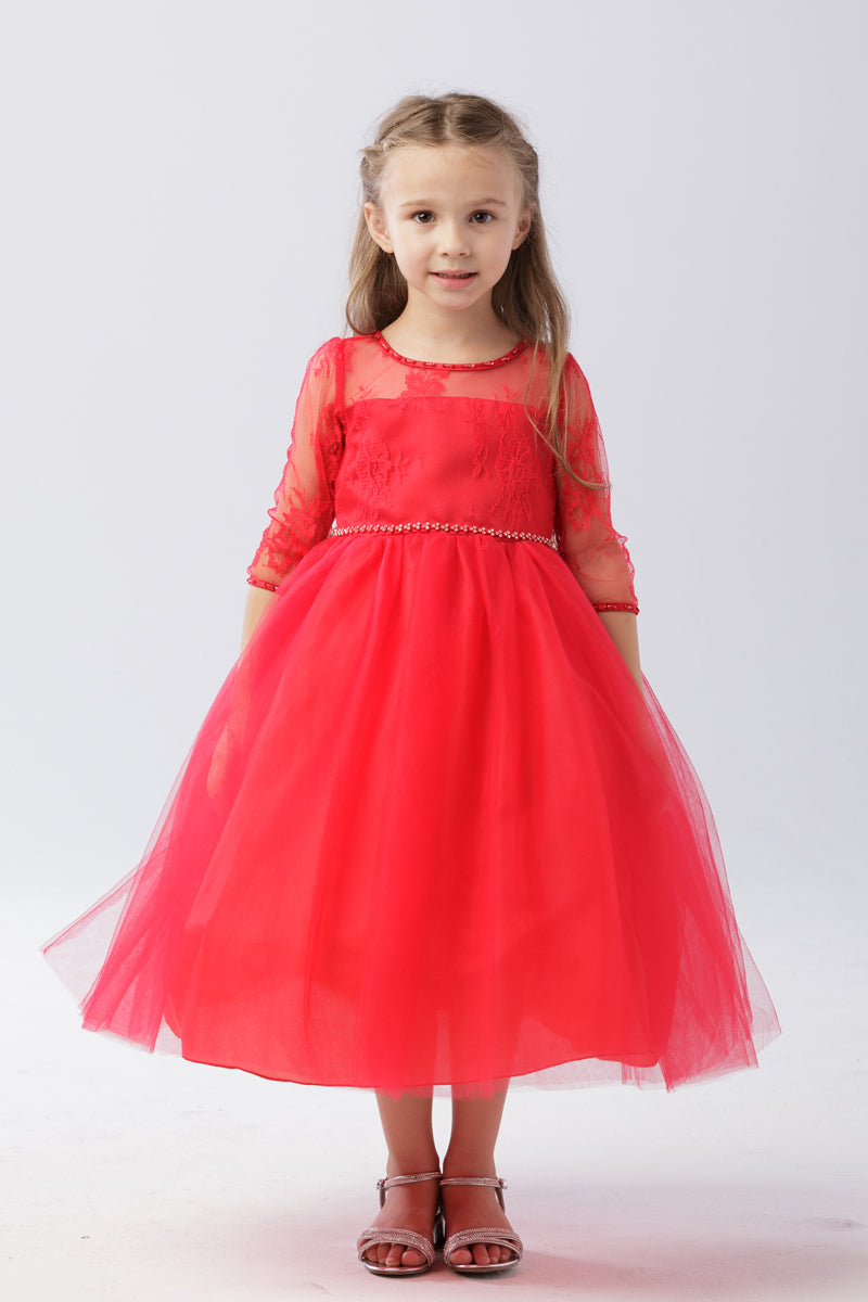carmens designs quarter Lace Sleeve Dress with Tulle Skirt in red for flower girl