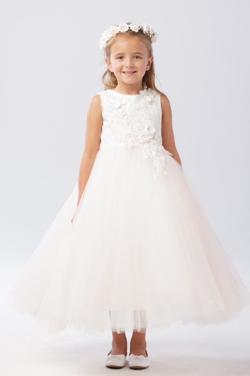 tip top kids 3D Lace Bodice With Mesh Skirt Dress available at carmens designs toronto