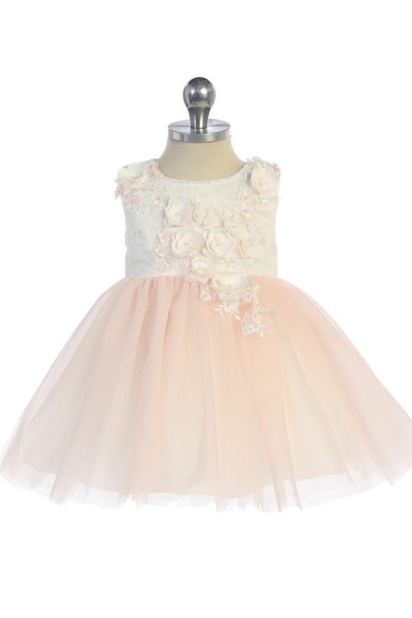 baby girl 3D Lace Bodie With Mesh Bottom Dress in blush from tip top kids