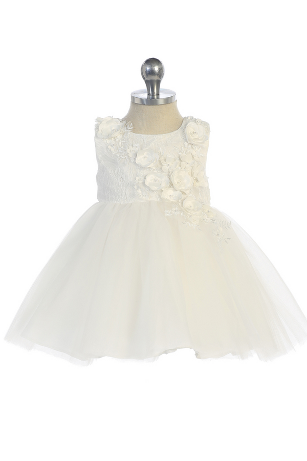 baby girl 3D Lace Bodie With Mesh Bottom Dress in white carmens designs
