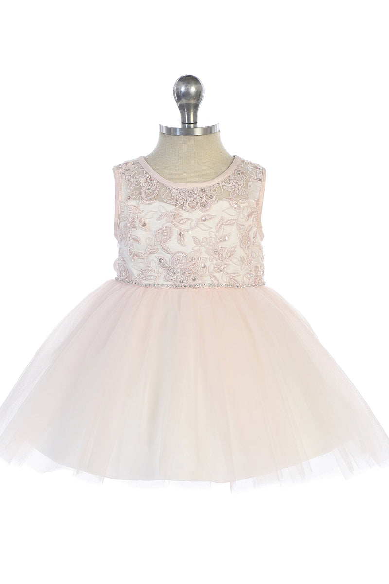 carmens designs blush Illusion Neckline with Lace Applique Bodice for baby flower girls and weddings
